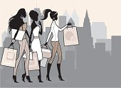 A group of elegant women shopping. All characters and background on separate layers for easy editing. Click below for more fashion and shopping images