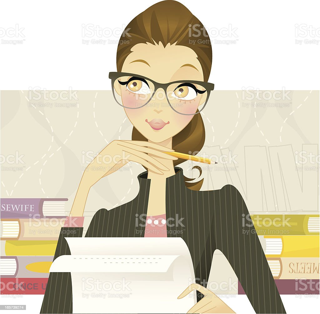 Chic Writer vector art illustration