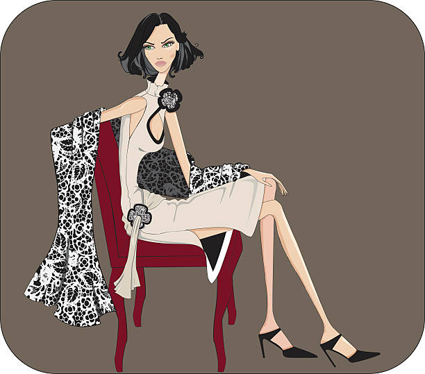 chica sentada - pashminas stock-grafiken, -clipart, -cartoons und -symbole