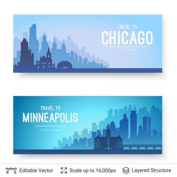 Chicago and Minneapolis famous city scapes. Flat well known silhouettes. Vector illustration easy to edit for flyers or web banners. chicago stock illustrations