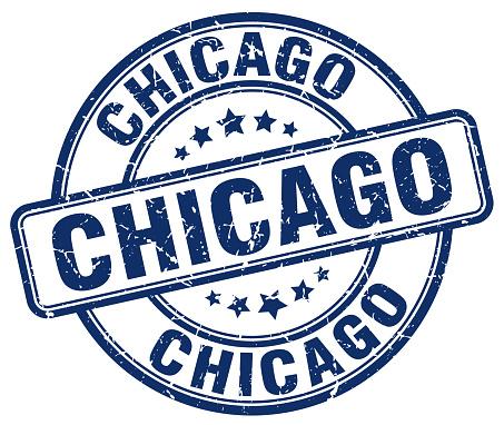 Chicago blue grunge round vintage rubber stamp