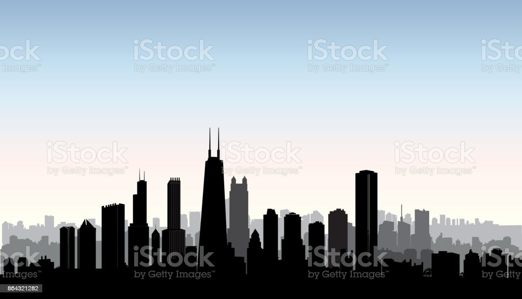 Chicago city buildings silhouette. USA urban landscape. American cityscape with landmarks. Travel USA skyline background. vector art illustration