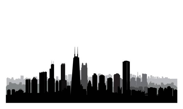 Chicago city buildings silhouette. USA urban landscape. American cityscape with landmarks. Travel USA skyline background. Chicago city buildings silhouette. USA urban landscape. American cityscape with landmarks. Travel USA skyline background. chicago stock illustrations