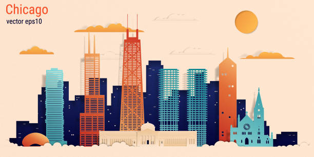 Chicago city colorful paper cut style, vector stock illustration Chicago city colorful paper cut style, vector stock illustration. Cityscape with all famous buildings. Skyline Chicago city composition for design chicago stock illustrations