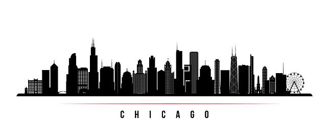 Chicago City Skyline Horizontal Banner Black And White ...