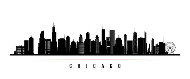 ilustrações de stock, clip art, desenhos animados e ícones de chicago city skyline horizontal banner. black and white silhouette of chicago city, usa. vector template for your design. - skyline