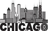 Chicago City Skyline Text Black and White Illustration