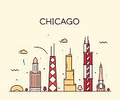 Chicago City skyline Trendy vector line art