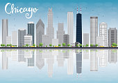 Chicago city skyline with grey skyscrapers and reflections