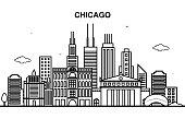 Chicago City Tour Cityscape Skyline Line Outline Illustration