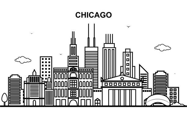 ilustraciones, imágenes clip art, dibujos animados e iconos de stock de ciudad de chicago tour urbano horizonte línea contorno ilustración - chicago