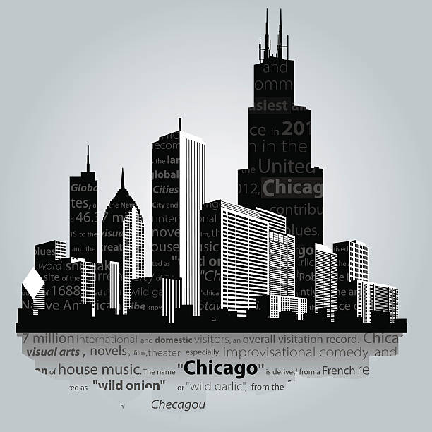 Chicago city. Vector. Chicago city silhouette. chicago stock illustrations