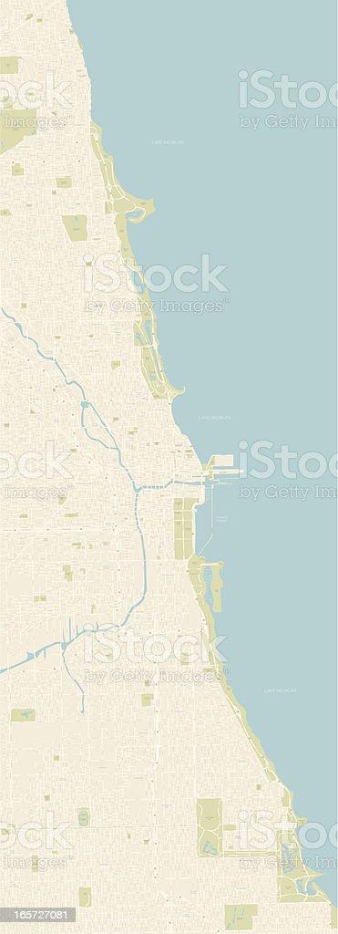 Chicago Coastline Map royalty-free stock vector art