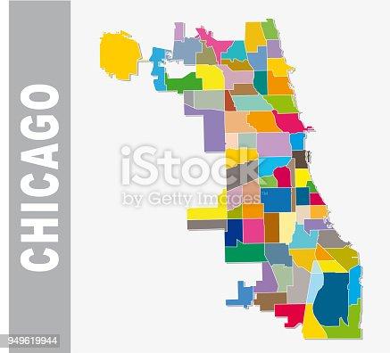 chicago cooorful neighborhood map