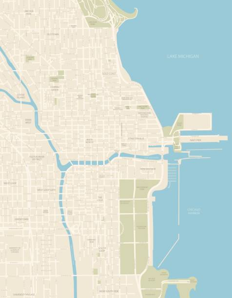 Chicago Downtown Map A detailed map of Downtown Chicago. Includes all roads and highways. Also includes parks, neighborhoods and points of interest. chicago stock illustrations