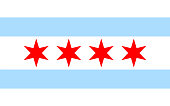 Chicago flag solid background, vector illustration. Icon