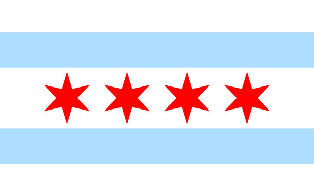 Chicago flag solid background, vector illustration Chicago flag solid background, vector illustration. Icon chicago stock illustrations