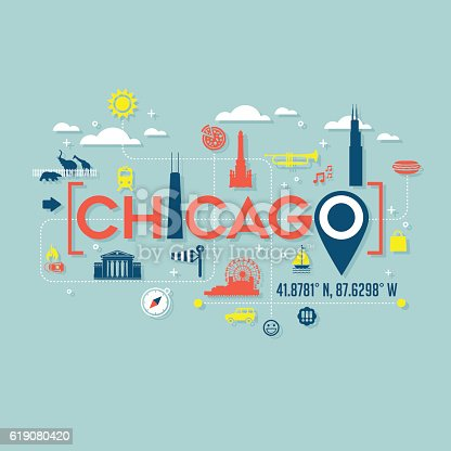 Chicago atractions icons and typography for cards, banners, tshirts, posters