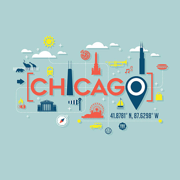 Chicago icons and typography for cards, banners, tshirts, posters Chicago atractions icons and typography for cards, banners, tshirts, posters chicago stock illustrations