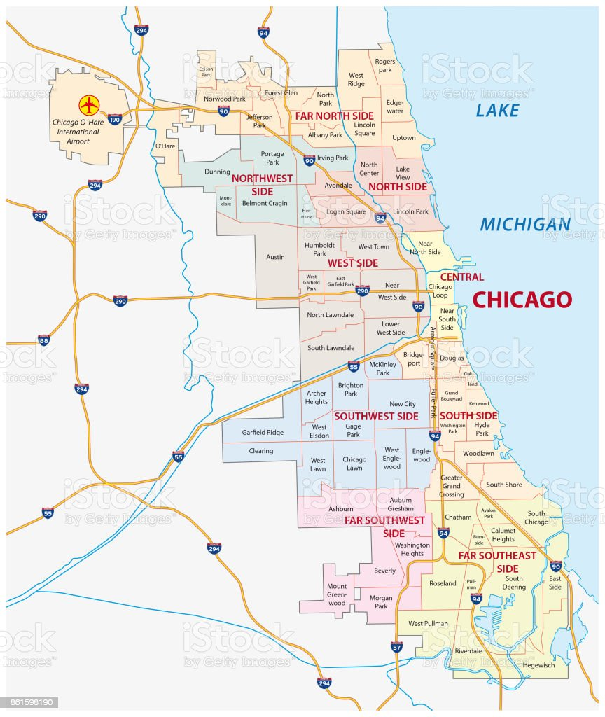 Chicago Illinois Community Map Stock Vector Art & More Images of ...