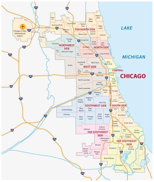 ilustraciones, imágenes clip art, dibujos animados e iconos de stock de mapa de la comunidad de chicago, illinois - chicago