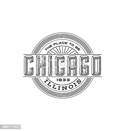 Linear emblem design for t shirts, travel stickers and patches. Line art typography design.