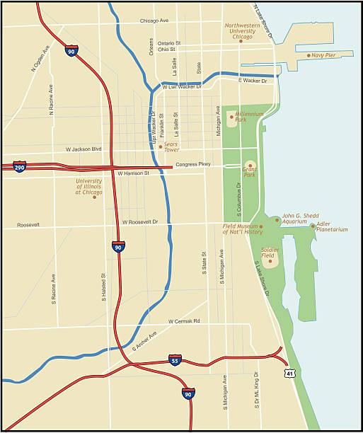 Chicago Illinois Map vector art illustration