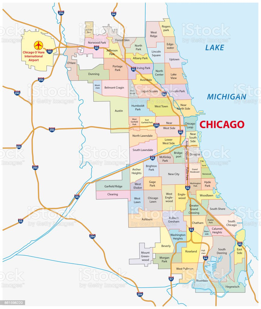 Chicago Illinois Neighborhood Map Stock Vector Art More Images Of
