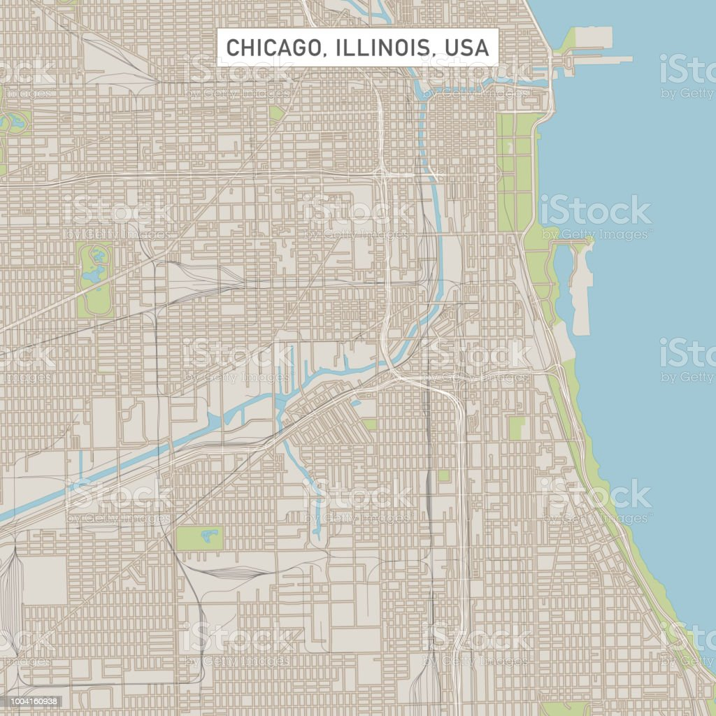 Chicago Illinois Us City Street Map Stock Vector Art & More Images ...