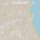 Vector Illustration of a City Street Map of Chicago, Illinois, USA. Scale 1:60,000.\nAll source data is in the public domain.\nU.S. Geological Survey, US Topo\nUsed Layers:\nUSGS The National Map: National Hydrography Dataset (NHD)\nUSGS The National Map: National Transportation Dataset (NTD)