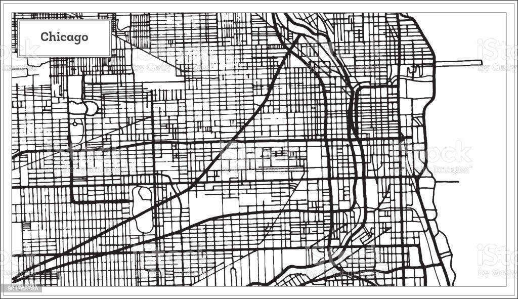Karta Usa Chicago.Chicago Illinois Usa Karta I Svartvitt Och Farg Vektorgrafik Och