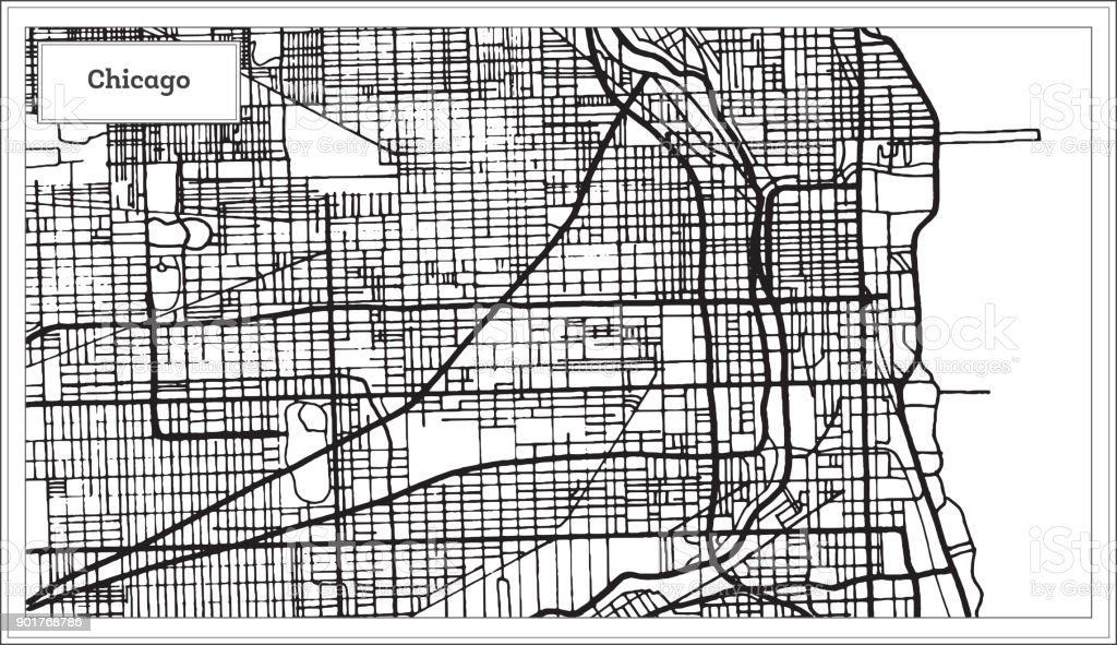 Chicago Illinois USA Map in Black and White Color. vector art illustration