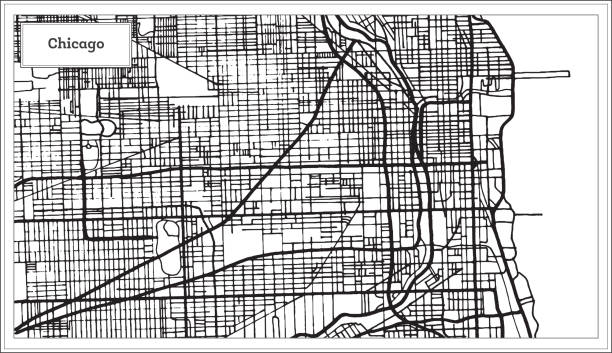 Chicago Illinois USA Map in Black and White Color. Chicago Illinois USA Map in Black and White Color. Vector Illustration. Outline Map. chicago stock illustrations