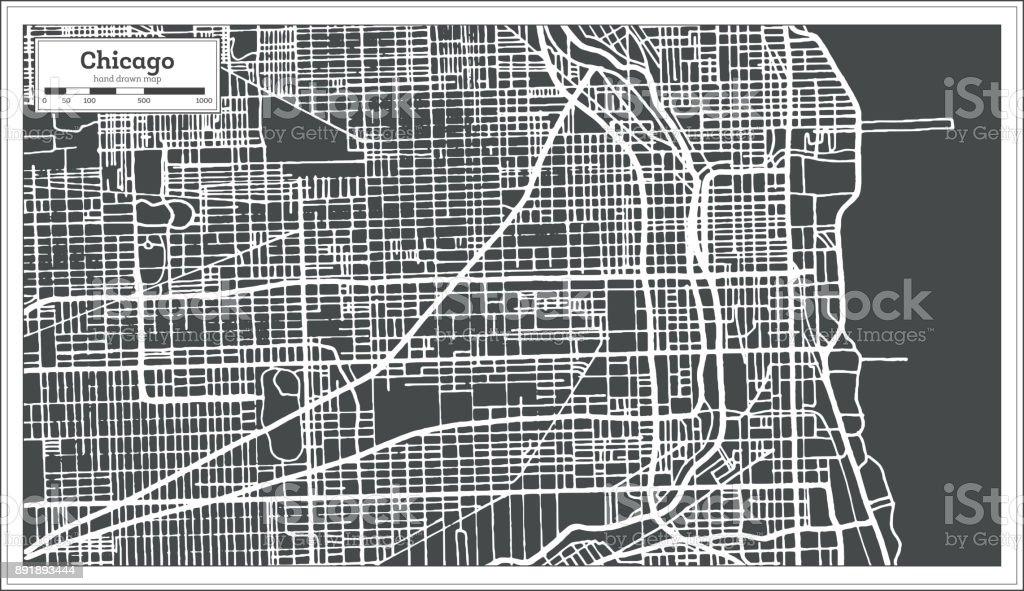 Karta Usa Chicago.Chicago Illinois Usa Karta I Retrostil Konturkarta Vektorgrafik Och