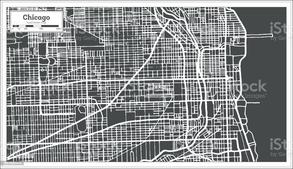 Chicago Illinois USA Map in Retro Style. Outline Map. vector art illustration