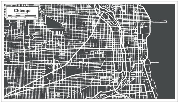 Chicago Illinois USA Map in Retro Style. Outline Map. Chicago Illinois USA Map in Retro Style. Vector Illustration. Outline Map. chicago stock illustrations