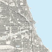 Topographic / Road map of Chicago, IL. Original map data is public domain sourced from www.census.gov/