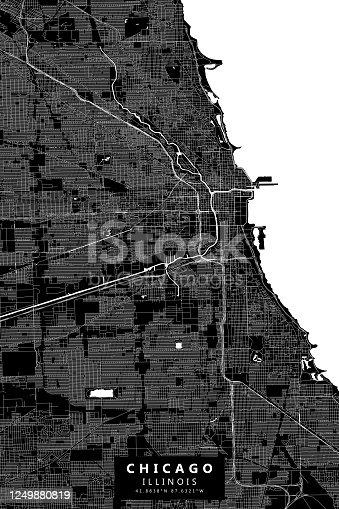Chicago Illinois - Vector Map