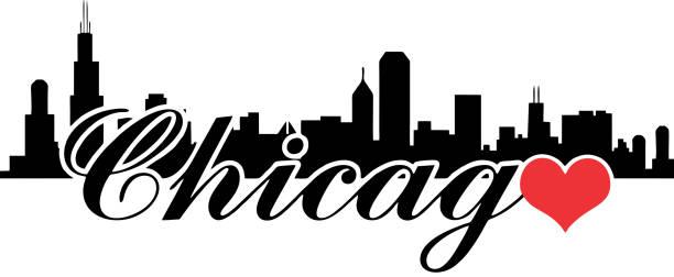Chicago Love heart vector art illustration