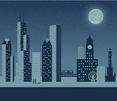 A retro-style scene of the Chicago skyline at night with a couple and their dog taking a walk. Also includes a version without the people and dog.