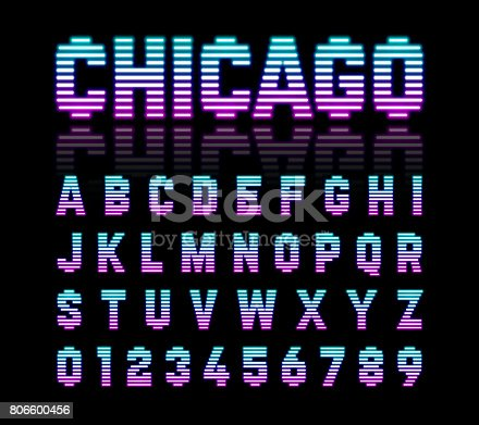 Chicago Retro Style Neon Font Stock Vector Art More Images Of 1980 1989 806600456