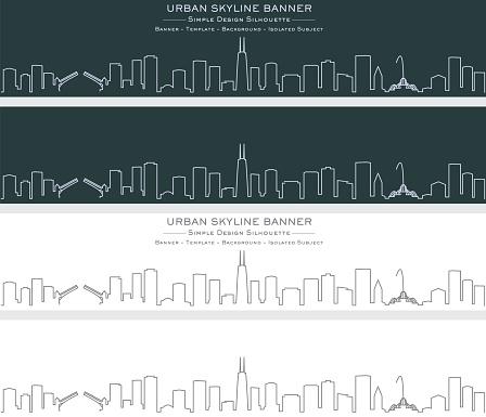 Chicago Single Line Skyline Banner