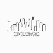 Chicago skyline and landmarks silhouette black vector icon. Chicago panorama. United States of America. USA