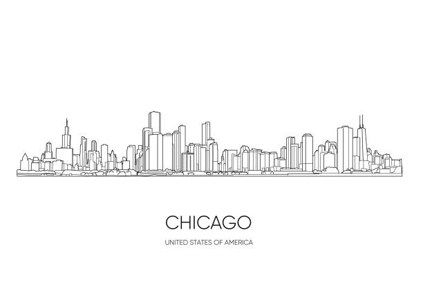 Chicago skyline, Illinois, USA. Hand drawn vector illustration, perfect for postcards or souvenirs. Black and white outlines Chicago skyline, Illinois, USA. Hand drawn vector illustration, perfect for postcards or souvenirs. Black and white outlines chicago stock illustrations