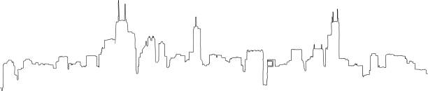 Chicago Skyline Line Drawing Single line outline drawing of the full Chicago skyline, including all the famous landmark towers. Hand drawn vector illustration. chicago stock illustrations