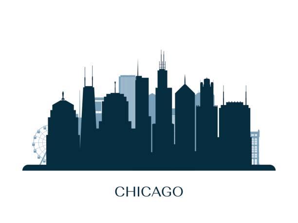chicago manzarası, tek renkli siluet. vektör çizim. - panoramik stock illustrations