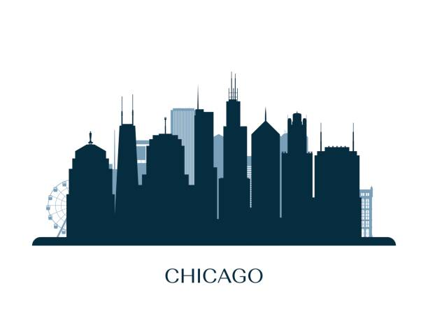 chicago skyline, monochrome silhouette. vector illustration. - urban skyline stock illustrations