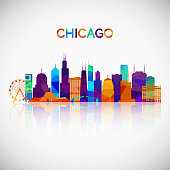 Chicago skyline silhouette in colorful geometric style. Symbol for your design. Vector illustration.