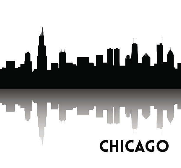 Chicago skyline silhouette Vector black silhouette of Chicago skyline. Downtown with skyscrapers. Illinois, USA. chicago stock illustrations
