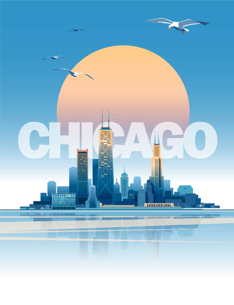 Chicago skyline Skyline of Chicago at sunset time. Main parts are on the separate layers chicago stock illustrations